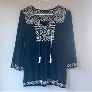 Lucky Brand Boho Navy Peasant Top with Embroidery